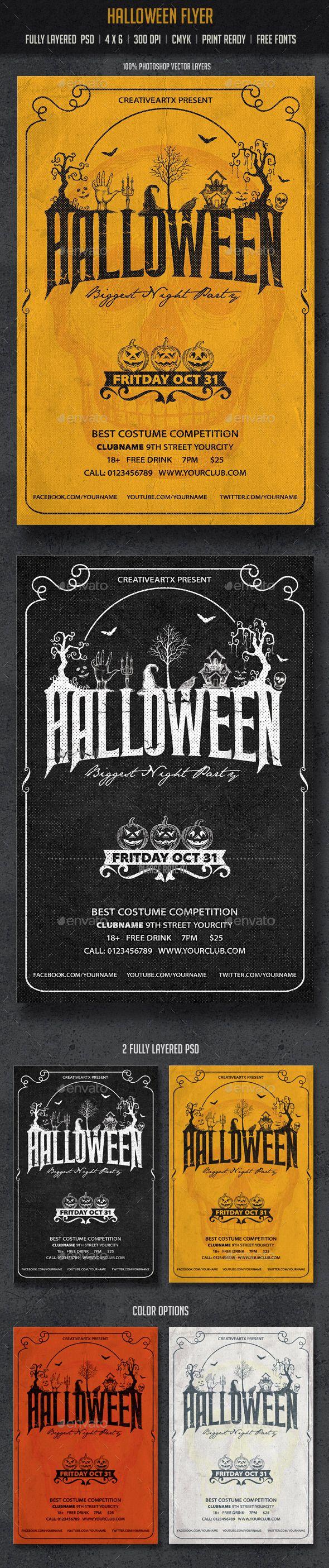 Halloween flyer flyer template halloween and design for Halloween flyer ideas