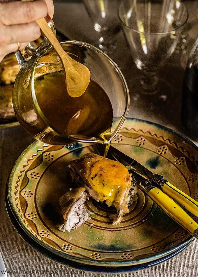 Receta de pollo confitado al ajillo en aceite de oliva a temperatura baja, otra manera de hacer pollo al ajillo, con fotos paso a paso y consejos