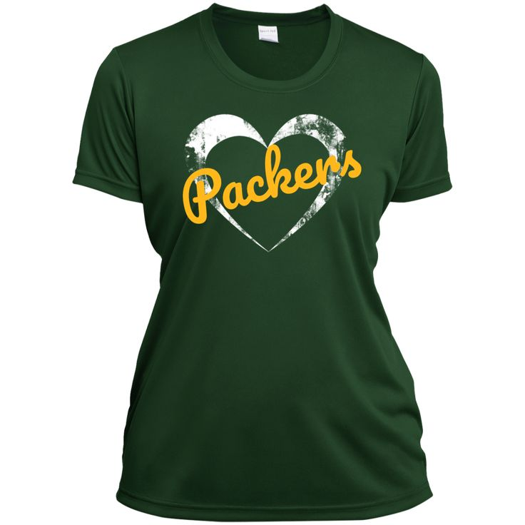 The Ladies Heart Green Wicking Packers T-Shirt has a round neck and is made of 100% polyester wicking knit with digital printing. Eight sizes. Free Shipping. Excellent quality. Visit SportsFansPlus.com for Details.