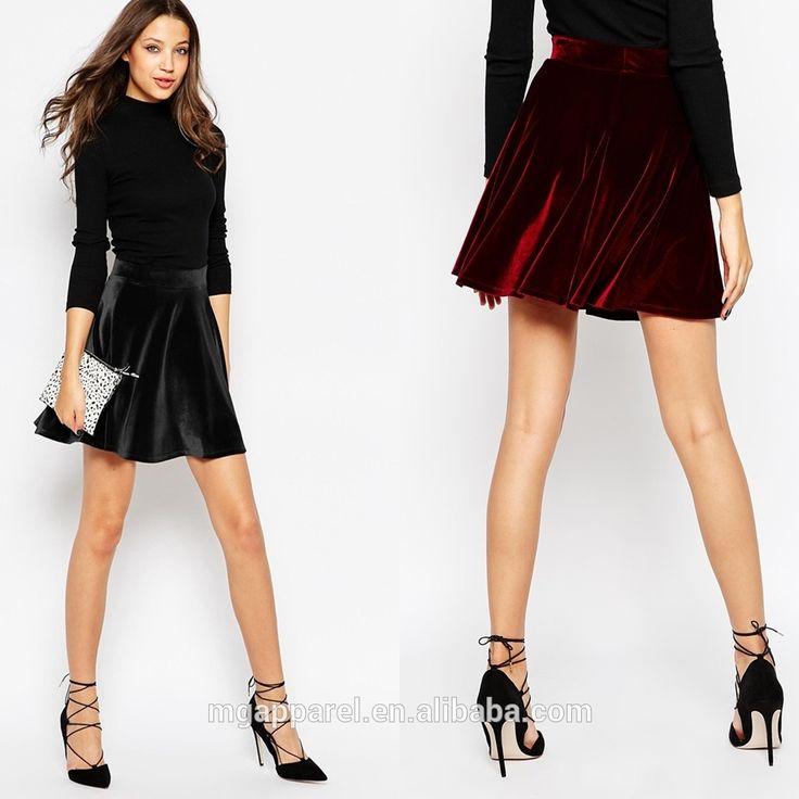 Último modelo falda cintura del estiramiento suave al tacto tela de terciopelo…