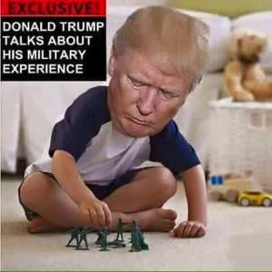A collection of funny memes and viral images skewering Republican presidential nominee Donald Trump.: Trump Military Experience