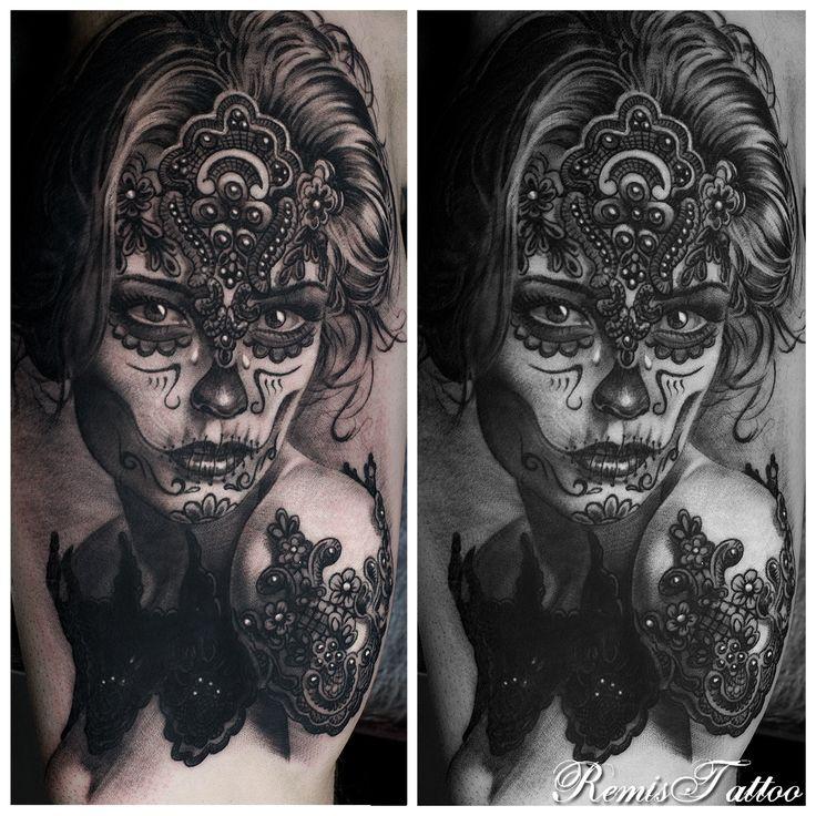Woman Portrait Tattoo By Remis, Black And Grey Tattoo