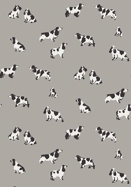 Purebred #wallpaper in #grey The adorable pups in Purebred makes this novelty wallpaper a must-have. Every home needs a dog!  #Thibaut