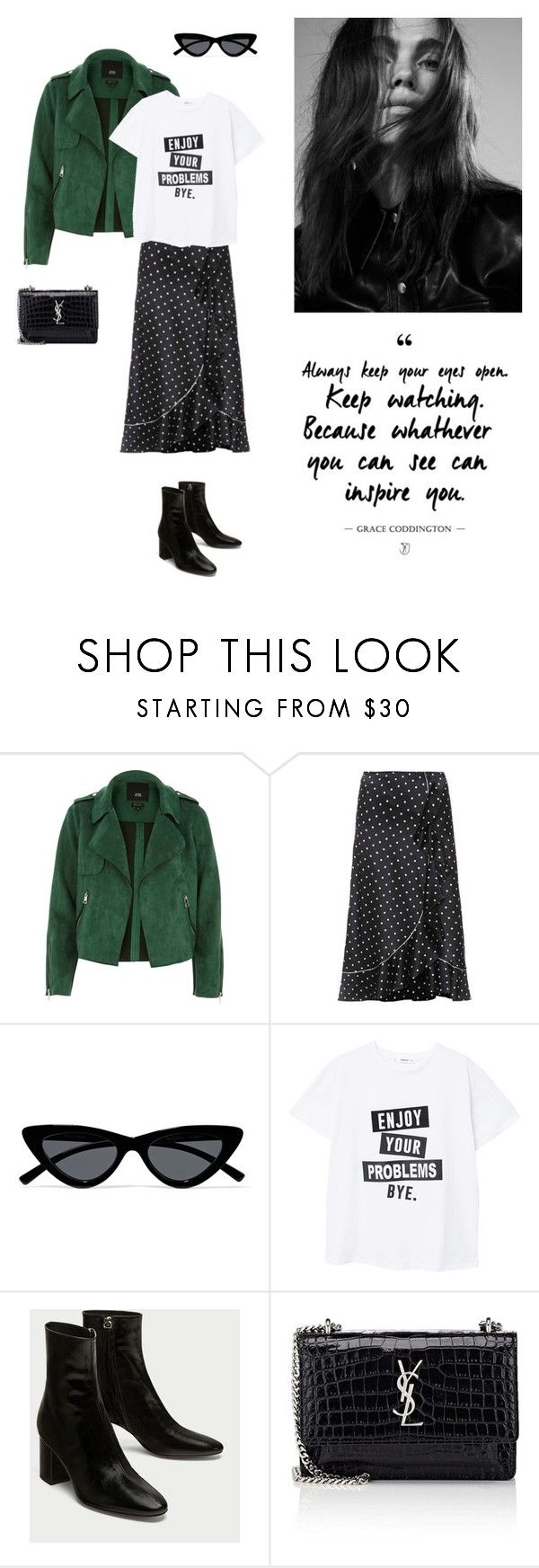 """12/03"" by dorey on Polyvore featuring Ganni, Le Specs, MANGO and Yves Saint Laurent"