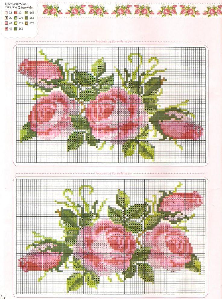 Lindo gráfico de ponto cruz, rosas para bordas na toalha de mesa e deixar a hora do chá muito romântica.