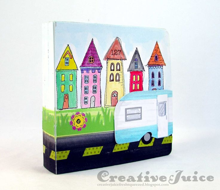 Lisa Hoel – Eileen Hull team collaboration with Stampotique, road trip tunnel journal complete with a monster at the end of the book (& throughout ;-) .)