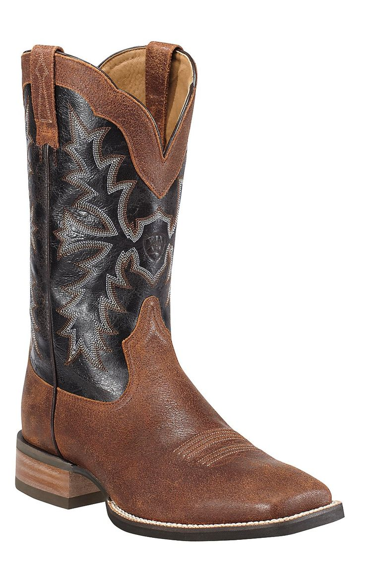 Ariat Sweetwater Men's Rough Cognac with Deep Brown Wide Square Toe Cowboy Boot
