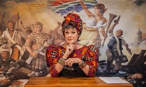 Evita Bezuidenhout is a character created by South African performer Pieter-Dirk Uys in the 1980s, using satire to evade apartheid censorship and criticise the state