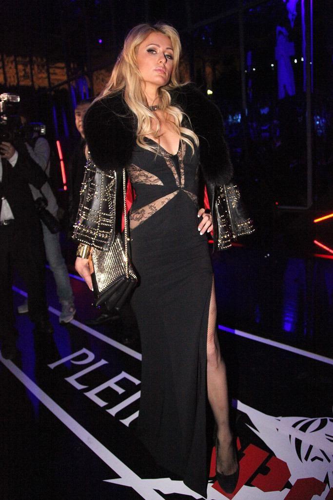 Paris Hilton wearing Philipp Plein Dapnhe Lace and Studded Evenning Dress and Philipp Plein Shadow Leather Studded Fur Jacket
