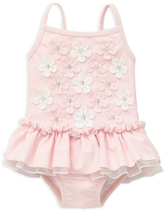 Little Me Girls' Floral Appliqué Skirted Swimsuit - Baby
