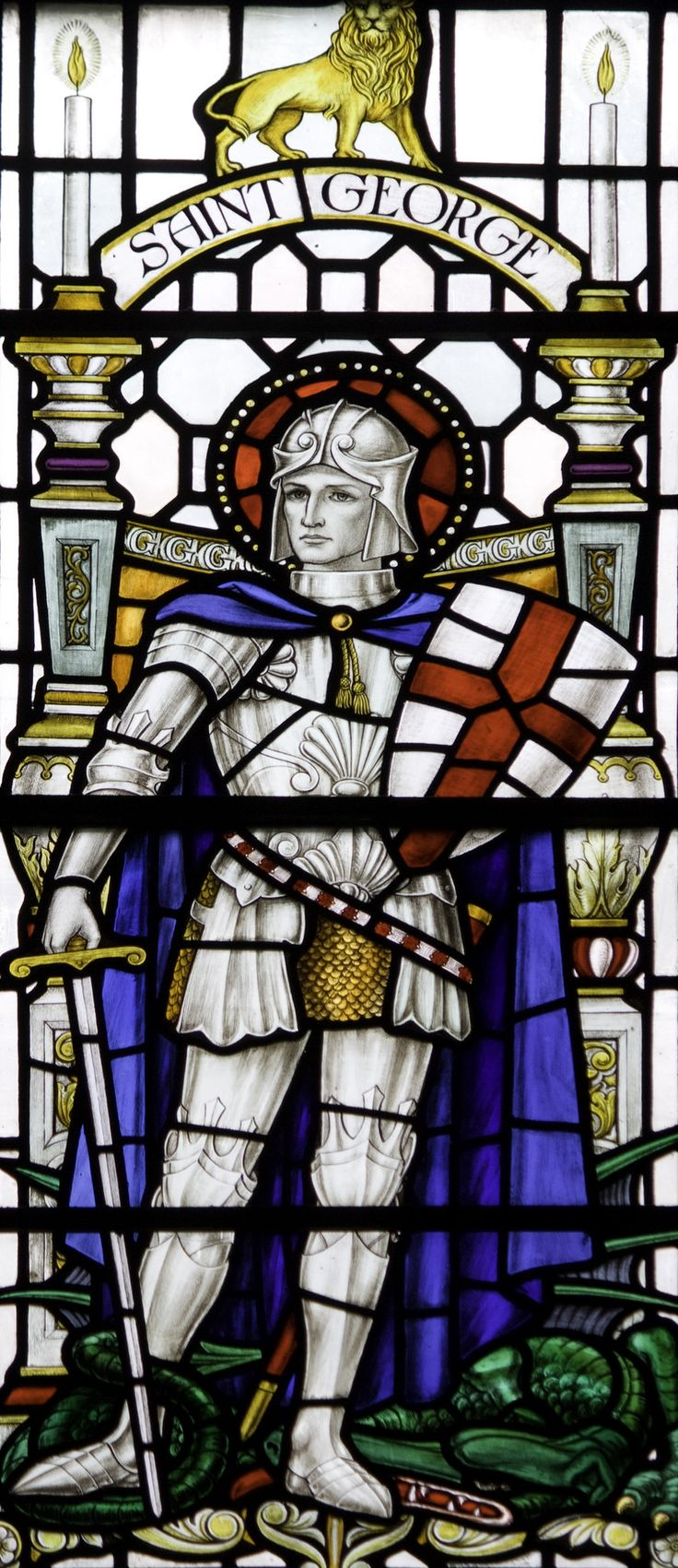 https://flic.kr/p/GtznHh   St George in Newcastle   Stained glass from the church of St John the Baptist in Newcastle.