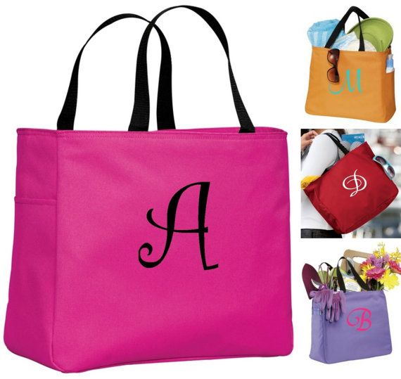 4 Personalized Bridesmaid Gift Tote Bag- Wedding Party Gift- Bridal Party Gift- Initial Tote- Mother of the Bride Gift
