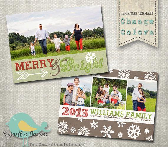 Christmas Card Photography Templates  Family Christmas by SugarfliesDesigns, $8.00
