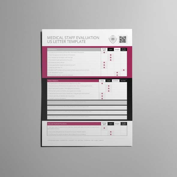 Medical Staff Evaluation US Letter Template CMYK \ Print Ready - staff evaluation