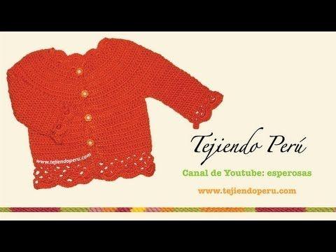 Cómo tejer una chaqueta con bordes calados para niñas en crochet - YouTube