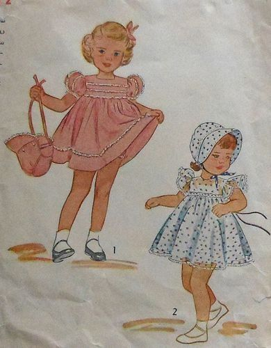 1940s toddler | ೋVintage 1940s Toddler Girls Dress & Bonnet Sewing Pattern