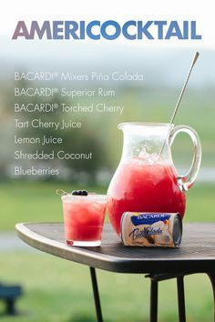 Take your patriotic party to the next level with this on-the-rocks cocktail, inspired by the red white and blue! Make sure you've got BACARDI® Mixers Pina Colada, cherry and lemon juices, and your favorite cherry and regular rums on hand—and blueberries and coconut to garnish!