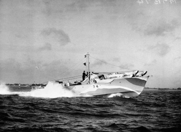 28 1942 The Commando raid on St. Nazaire. Motor Torpedo Boat. Also taking part were Motor Torpedo Boats , including No 74: 'underway at speed, coastal waters, as converted for St Nazaire raid'.