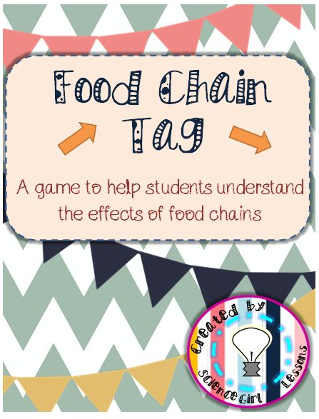 Looking for a fun, creative way to help your students understand food chains? This is a simple twist on the game of tag to help all types of learners. The game not only explains the basic functions of a food chain, but explores the effects of over and under populations of organisms. This game can be played either indoors or outdoors, and also includes exit slips to give your lesson closure. ($) #science #TpT #teacherspayteachers #activities #games #lifescience