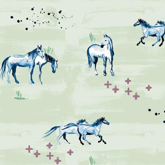 Organic Crib Sheet-Gender Neutral Sheet-Horses by NowandThenQuilts