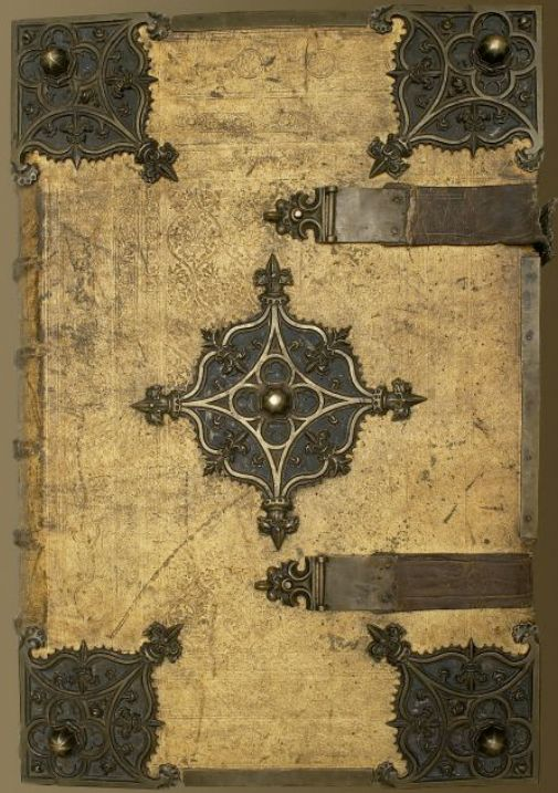 "The front cover of the newly digitised Geese Book (1503-1510).  Pigskin binding with brass.  This book is 25.75"" x 17.5"" in size with gilt, stamped edges.  And I used to complain about my text books in school!  Manuscript made available online yesterday by the good people at the Arizona Center for Medieval and Renaissance Studies."