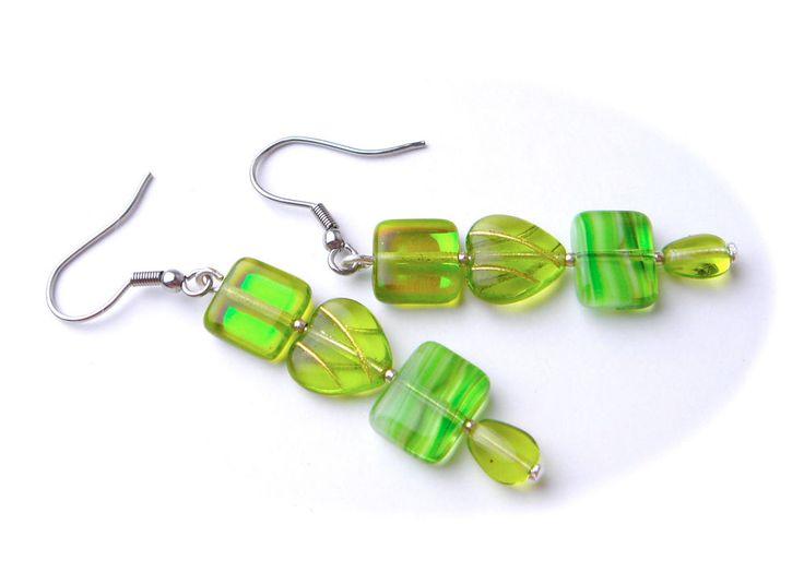 Vintage Czech Glass Earrings Drop Hook Pierced Ears Silver Tone GREEN Heart #Unbranded #DropDangle