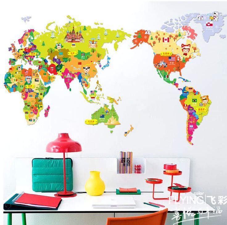 Mejores 9 imágenes de Decorar con mapa del mundo en Pinterest ...