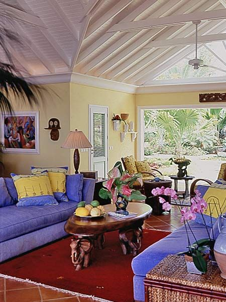 Coastal Living Room. Yellow inspiration for little sweety for later.