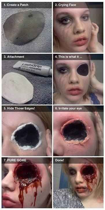 This gory eye makeup can be done in 7 easy steps.   27 Disgustingly Awesome Ways To Take Halloween To The Next Level