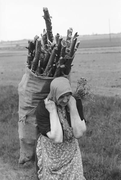 (via blessedwildapplegirl) Eastern European peasant woman carrying wood for fuel (circa 1930s)