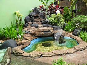 gambar kolam relief tebing buatan | kolam hias air mancur