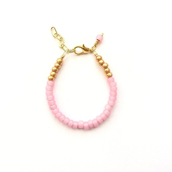 Flamingo Pink single strand stacking Baby Bracelet, girl baby bracelet, newborn bracelet, mommy and me, toddler bracelet, mothers day baby