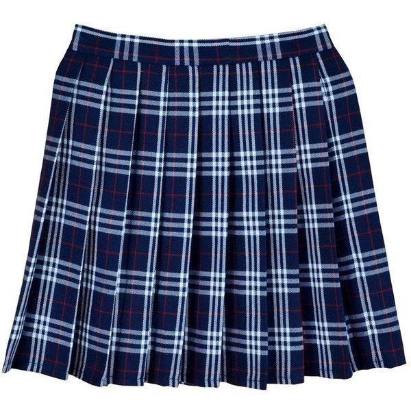 Women School Uniforms plaid Pleated Mini Skirt ($15) ❤ liked on Polyvore featuring skirts, mini skirts, tartan mini skirt, short plaid mini skirt, pleated skirt and blue plaid mini skirt