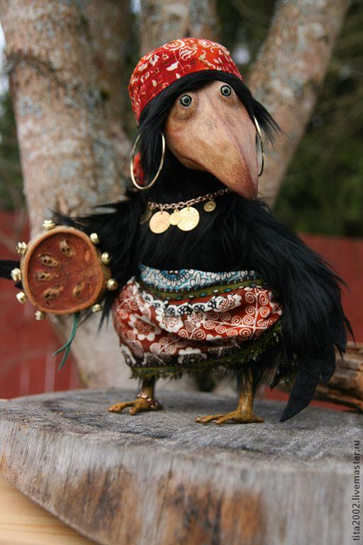 Купить Ляля - черный, ворона, ворон, друзья тедди, авторская работа, авторская игрушка, птица