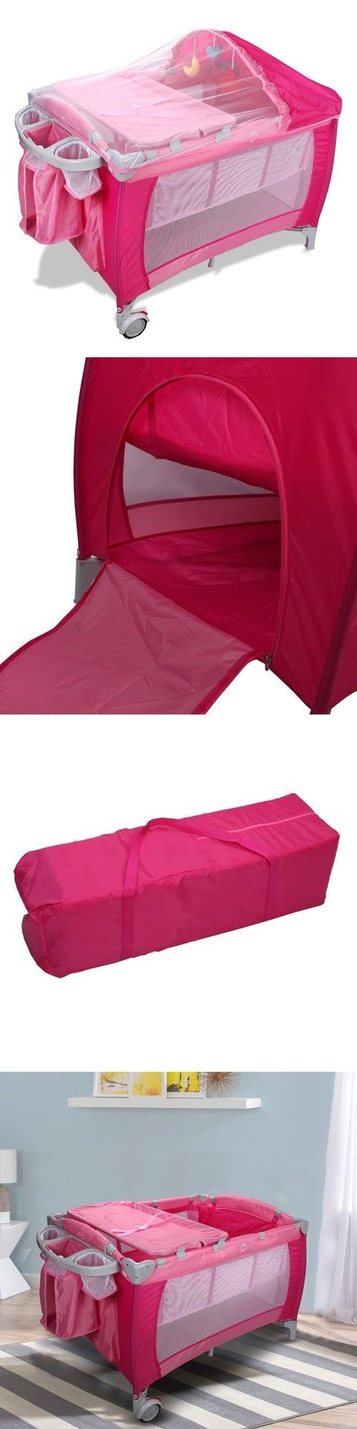 Baby Gear 100223: Pink Foldable Baby Crib Playpen W Mosquito Net And Bag -> BUY IT NOW ONLY: $45.59 on eBay!