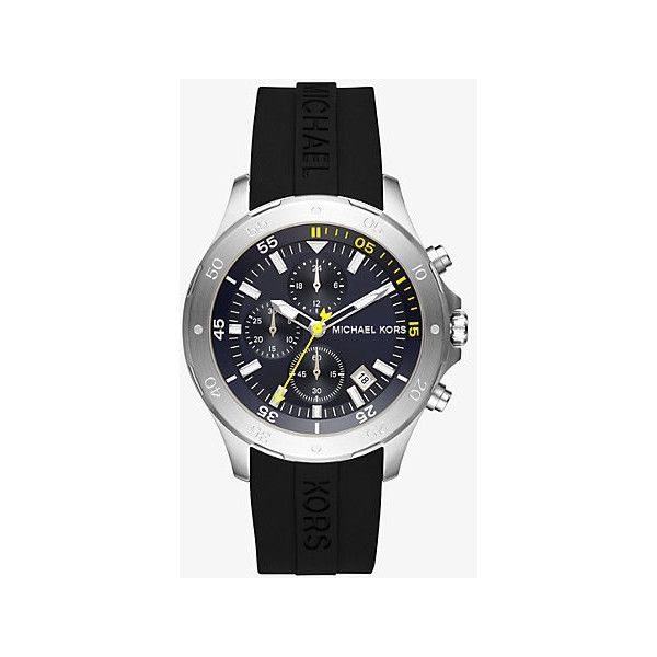 Michael Kors Michael Kors Walsh Silver-Tone And Silicone Watch (4,035 THB) ❤ liked on Polyvore featuring men's fashion, men's jewelry, men's watches, silver, mens oversized watches, michael kors mens watches and mens silicone watches