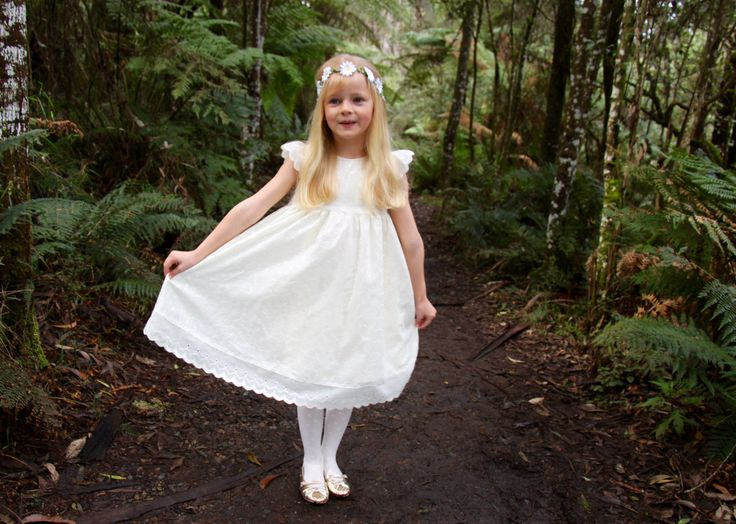 Baptism dress, flower girl dress, communion dress, naming day dress, birthday dress, christening dress Sandy- Cream Off-White Neutral Lined Broderie Anglaise Girls Baby-doll Dress - Mill in the Sky by millinthesky on Etsy
