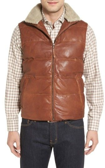 Men's Missani Le Collezioni Quilted Leather Vest With Removable Genuine Shearling Collar