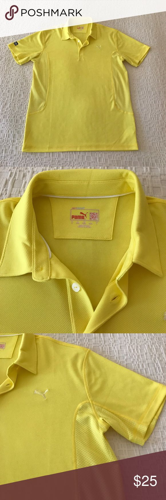 Men's Puma sport lifestyle yellow golf shirt. Puma Golf collared shirt. Moisture wicking material. Like new. Puma Shirts Polos