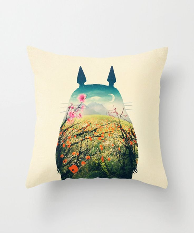 Capture the great outdoors with this Totoro pillow. Made of 100% polyester poplin, each double-sided pillow cover has been individually cut and sewn by hand. A concealed zipper makes the pillow cover easy to clean.