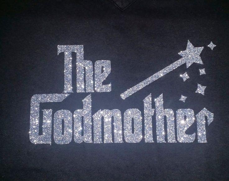 The Godmother Shirt Glitter Bling T- Shirt Woman's V-neck Tee