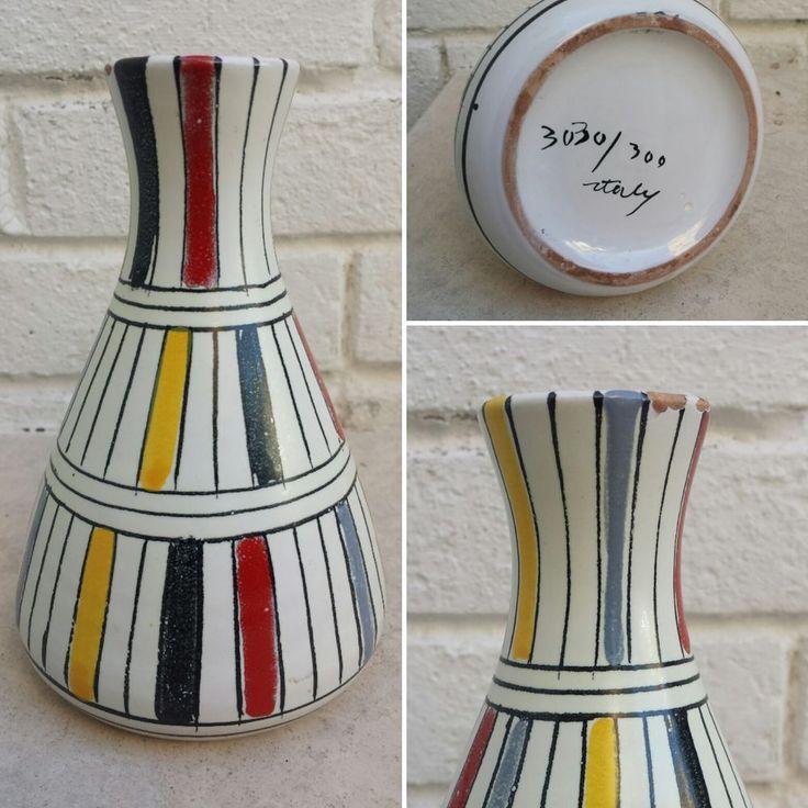 Raro Vaso Ceramica Bitossi Aldo Londi 1950 handpainted Vintage design Vase   | eBay