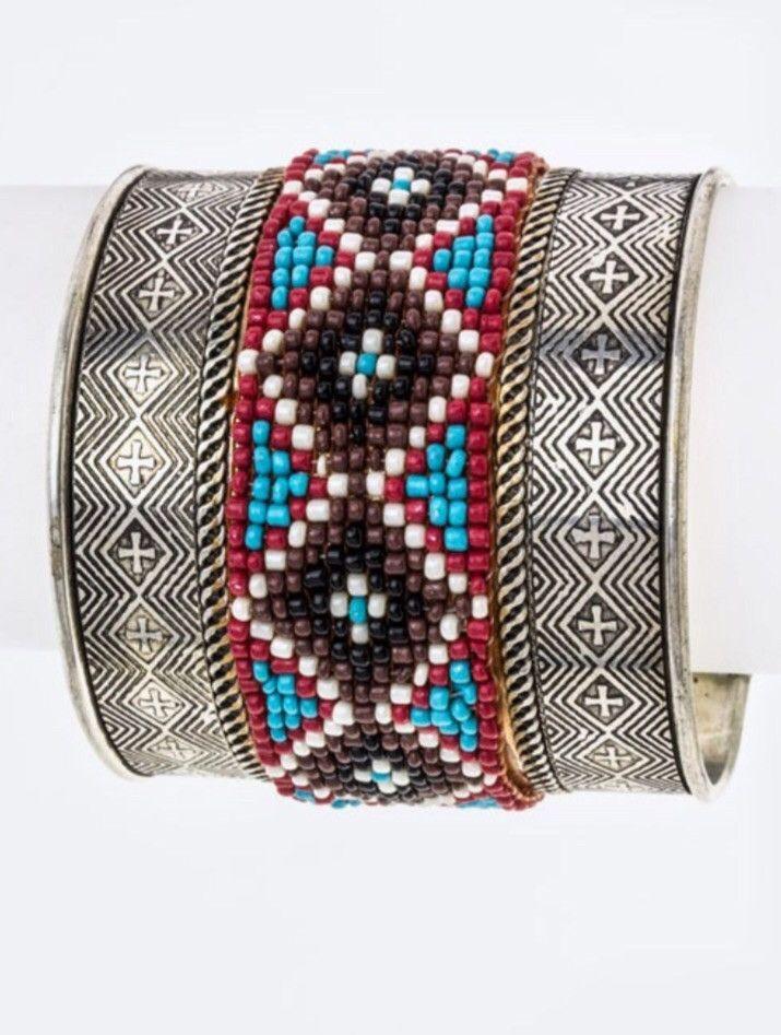 Tribal Beaded Metal Cuff