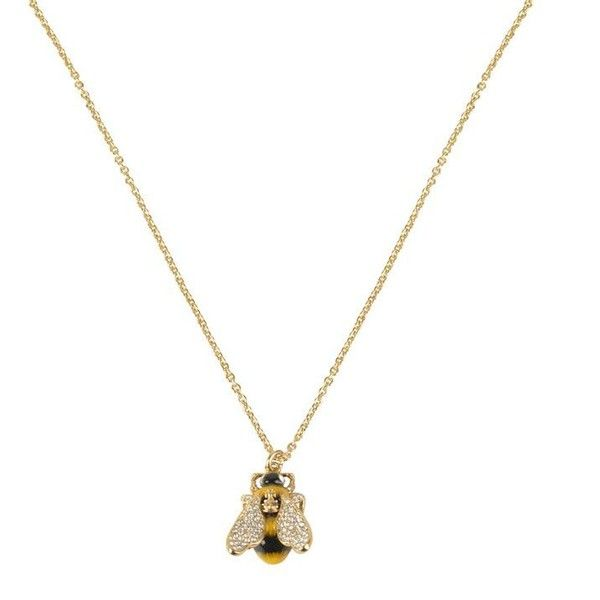 Vivienne Westwood Jewellery Bumble Pendant Necklace (1.698.840 IDR) ❤ liked on Polyvore featuring jewelry, necklaces, gold, bee pendant, bee necklace, druzy pendant necklace, clear crystal necklace and chain necklace