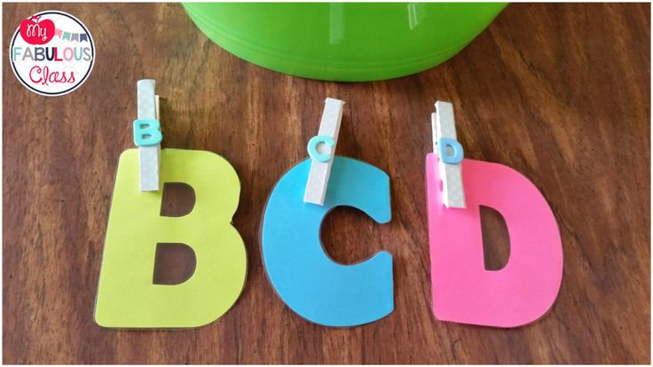 Put foam letters on a clothes pin and match to a die cut letter. Great back to school activity.
