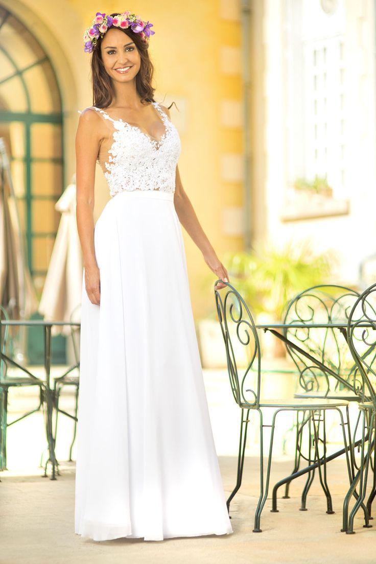 Les 25 meilleures id es concernant robes de mari e fluides sur pinterest photos de la robe de - Robe de mariee fluide dentelle ...