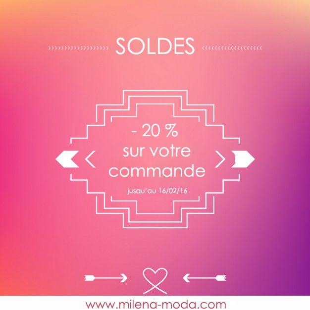 """• CODE PROMO •   Profitez d'une réduction de 20% supplémentaires sur votre panier avec le code """"SOLDES"""".  Au récapitulatif de votre commande, il vous suffit de taper """"SOLDES"""" dans l'encart """"Code promo"""", et de cliquer sur """"Ok"""" pour bénéficier de l'offre.  RDV sur www.milena-moda.com  * Offre valable pour la France / DOM / TOM et Belgique sur tous les articles de la boutique du 11/02/2016 au 16/02/2016  #soldes #soldes2016 #bonplan #reduction #codepromo #bonpromo #bijoux"""