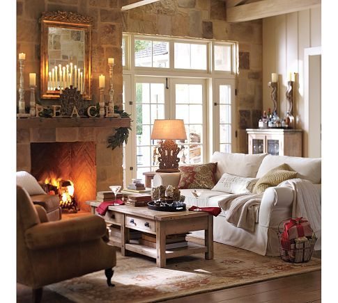 Family room, love the all stone wall: Decor, Ideas, Living Rooms, Livingroom, Christmas, Family Room, Fireplace, Pottery Barn