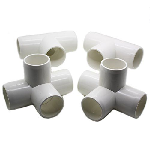 """4 Way Tee PVC Fitting - Build Heavy Duty PVC Furniture - Grade SCH 40 PVC 1"""" Elbow Fittings - For One Inch Size Pipe - White [4 Pack] #1 PVC"""