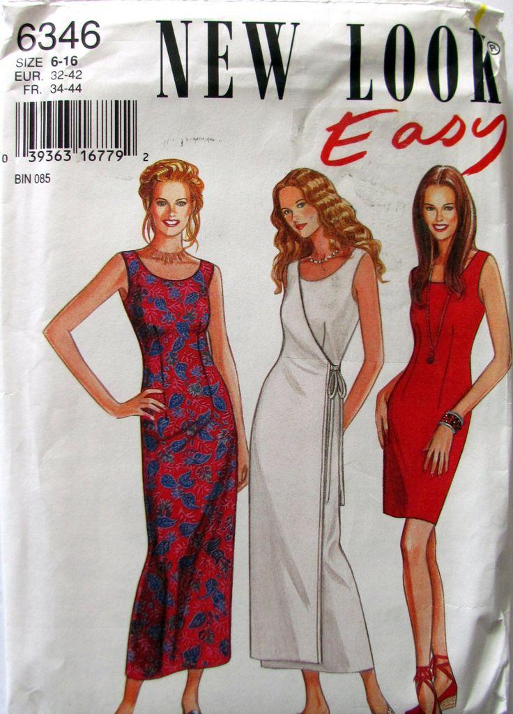 New Look 6346, Easy Dress Sewing Pattern, Ladies Sizes 6 to 16, Plus Size Dress Pattern, Long Dress, Short Dress, Long Wrap Dress Pattern by OnceUponAnHeirloom on Etsy